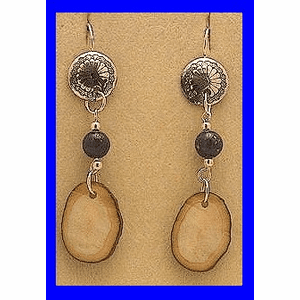 Tlingit Woman Shaman's Earrings V Lapis and FossilWalrus Ivory $32.50