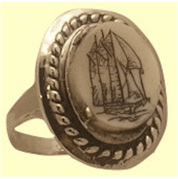 Traditional Lady's Crew Ring Sterling SIlver With Fossil Ivory