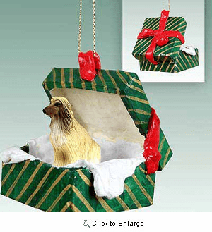 Afghan Hound Gift Box Christmas Ornament Afghan Tan-White