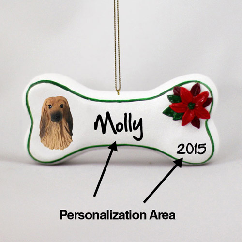 Afghan Hound Personalized Dog Bone Christmas Ornament