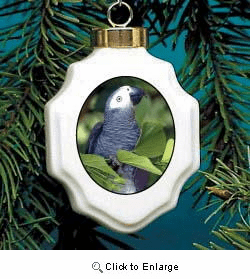 African Gray Parrot Christmas Ornament Porcelain