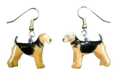 Airedale Terrier Earrings Hand Painted Acrylic