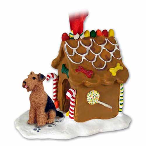 Airedale Terrier Gingerbread House Christmas Ornament