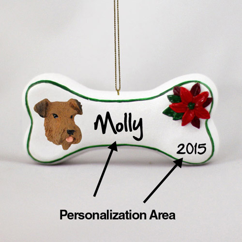 Airedale Terrier Personalized Dog Bone Christmas Ornament