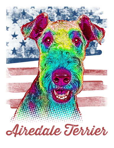 Airedale Terrier T Shirt American Flag