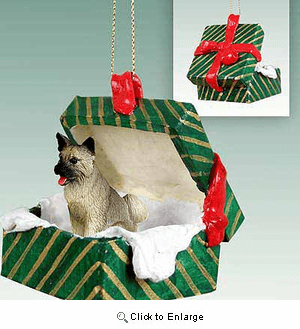 Akita Gift Box Christmas Ornament Gray