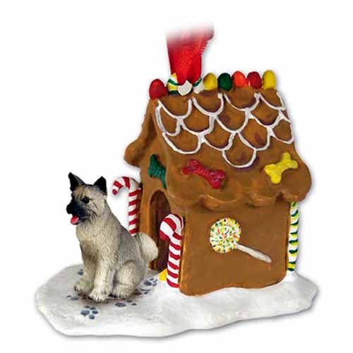 Akita Gingerbread House Christmas Ornament Gray
