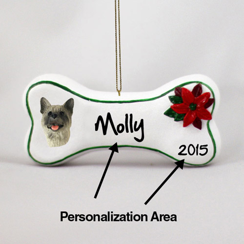 Akita Personalized Dog Bone Christmas Ornament Gray