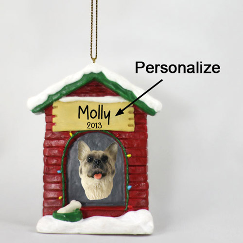 Akita Personalized Dog House Christmas Ornament