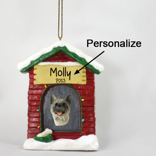 Akita Personalized Dog House Christmas Ornament Gray