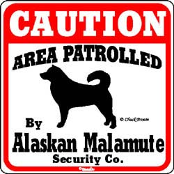 Alaskan Malamute Caution Sign