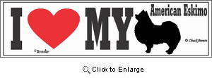 American Eskimo Dog Bumper Sticker I Love My