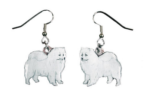 American Eskimo Dog Earrings Hand Painted Acrylic