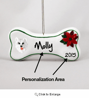 American Eskimo Dog Personalized Dog Bone Christmas Ornament