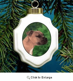 American Staffordshire Terrier Christmas Ornament Porcelain