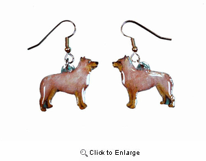 Australian Cattle Dog Earrings Red Hand Painted Acrylic
