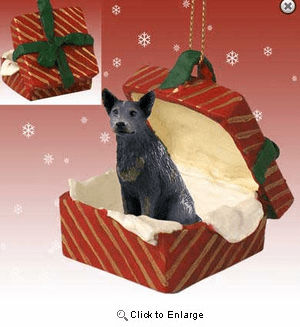 Australian Cattle Dog Gift Box Red Christmas Ornament