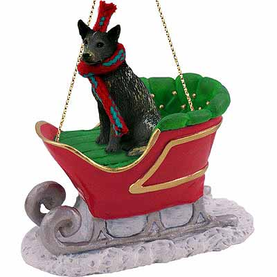 Australian Cattle Dog Sleigh Ride Christmas Ornament Blue