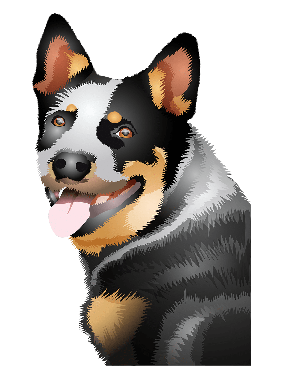Australian Cattle Dog T-Shirt Head Shot - Vibrant Vector