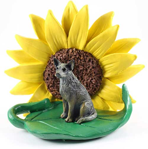 Australian Cattledog Blue Sunflower Figurine