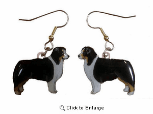 Australian Shepherd Earrings Tri Hand Painted Acrylic