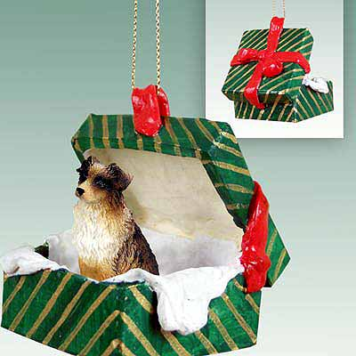 Australian Shepherd Gift Box Christmas Ornament Brown
