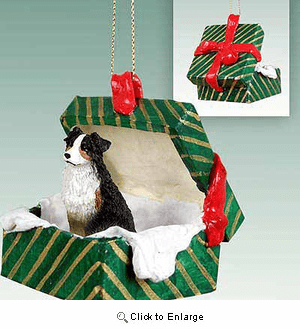 Australian Shepherd Gift Box Christmas Ornament Tricolor