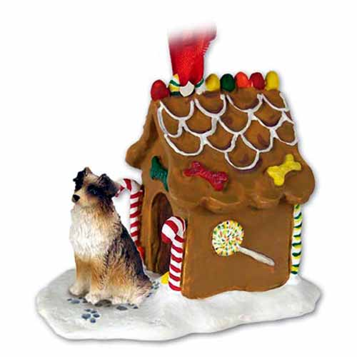 Australian Shepherd Gingerbread House Christmas Ornament Brown