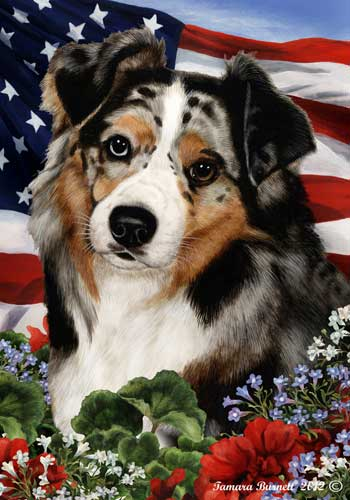 Australian Shepherd House Flag
