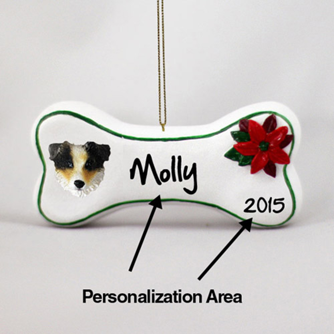 Australian Shepherd Personalized Dog Bone Christmas Ornament Tri