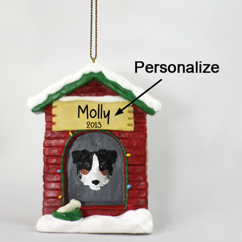 Australian Shepherd Personalized Dog House Christmas Ornament Tricolor