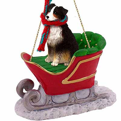 Australian Shepherd Sleigh Ride Christmas Ornament Tricolor
