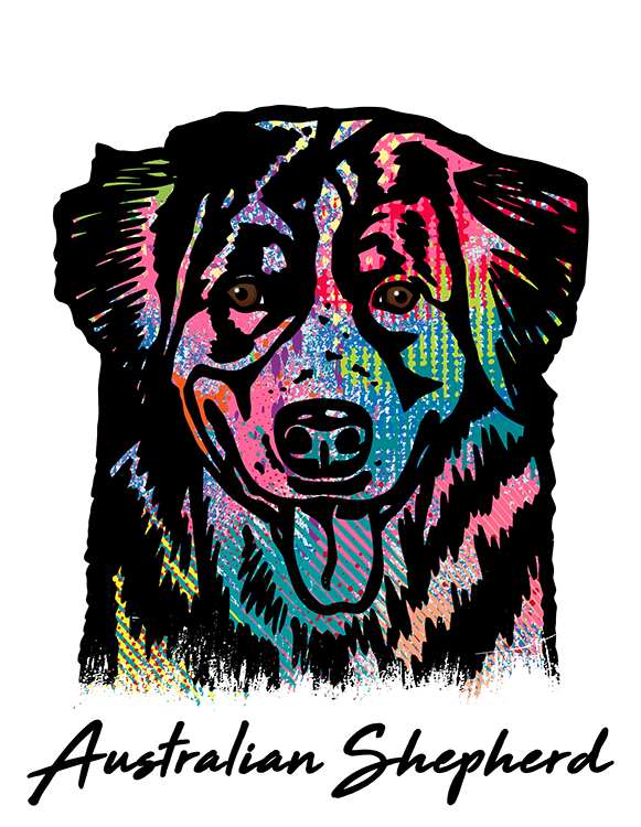 Australian Shepherd T Shirt Colorful Abstract