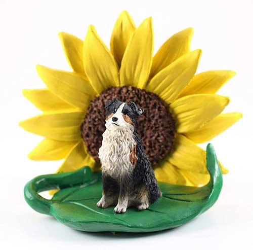 Australian Shepherd Tri Color Sunflower Figurine