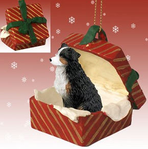 Australian Shepherd Tricolor Docked Gift Box Red Christmas Ornament