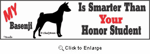 Basenji Bumper Sticker Honor Student