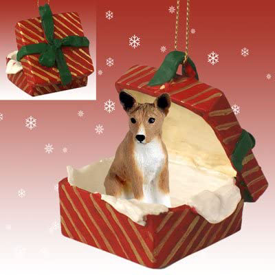 Basenji Gift Box Red Christmas Ornament