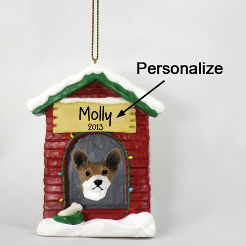 Basenji Personalized Dog House Christmas Ornament
