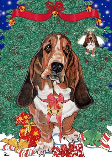 Basset Hound Christmas Cards Angels