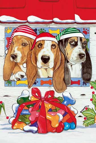 Basset Hound Christmas Cards Santa Lookout