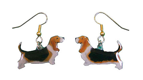 Basset Hound Earrings Hand Painted Acrylic