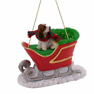 Basset Hound Sleigh Ride Christmas Ornament