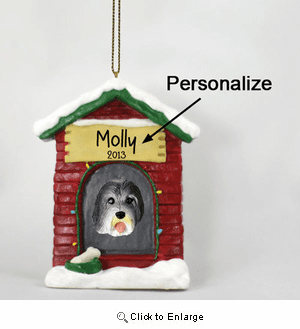 Bearded Collie Personalized Dog House Christmas Ornament