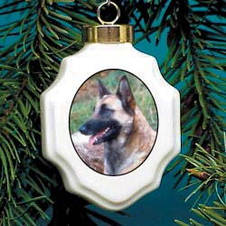 Belgian Malinois Christmas Ornament Porcelain