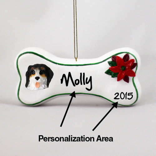 Bernese Mountain Dog Personalized Dog Bone Christmas Ornament