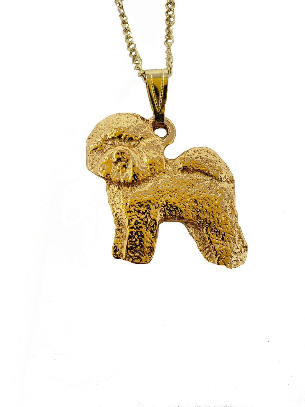 Bichon Frise 24K Gold Plated Pendant with Necklace
