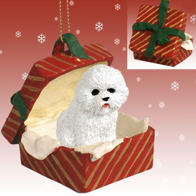 Bichon Frise Gift Box Red Christmas Ornament