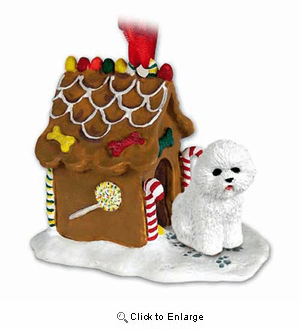 Bichon Frise Gingerbread House Christmas Ornament
