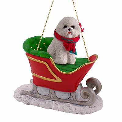 Bichon Frise Sleigh Ride Christmas Ornament