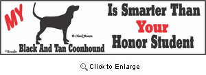 Black And Tan Coonhound Bumper Sticker Honor Student